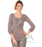 Блуза Y@mmyMammy для беременных и кормящих мамочек  дымчато-серая