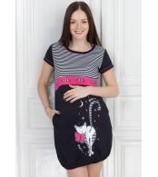 Платье домашнее М380 т.синее для беременных
