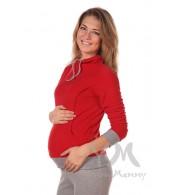 Толстовка флисовая с завязками красная для беременных и кормящих мамочек,Y@mmyMammy