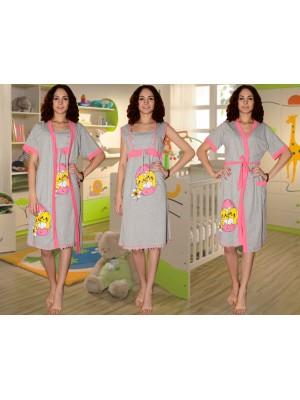 0c97be1ac3f2 Комплект с принтом для кормления Crazy Secret   ночная сорочка и халат