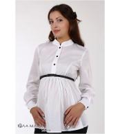 Белая блуза для беременных Rosa с черным поясом и пуговками