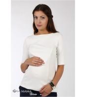 Молочный облегающий джемпер Denise для беременных и кормящих из плотного трикотажа кримплен