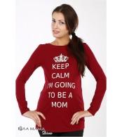 Бордовая свободная туника Kristen calm для беременных из хлопкового трикотажа