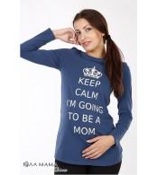 Джинсово-синяя свободная туника Kristen calm для беременных из хлопкового трикотажа