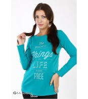 Изумрудная свободная туника Kristen best  для беременных из хлопкового трикотажа