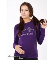 Фиолетовый облегающий лонгслив Brooke bird для беременных с принтом