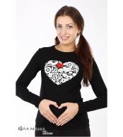 Черный облегающий лонгслив Brooke heart для беременных с принтом