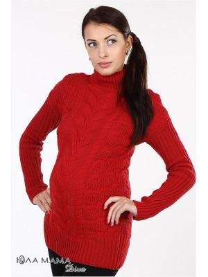 Красный свитер для беременных Amber из тонкой, но очень теплой овечьей шерсти