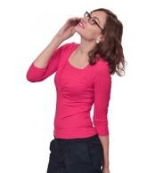 Блуза для кормления на запах с рукавом 3/4, ярко-розовая