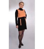 Платье черное с оранжевой жилеткой