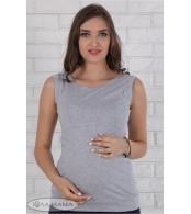 Майка для беременных и кормящих мам Silva, серый меланж