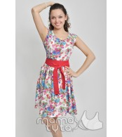 Платье для кормления  цвет -  белое в цветы