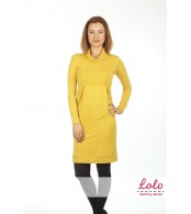 Платье для беременных и кормящих  с начесом Лоло охра желтая