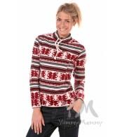Толстовка  красный/снежинки с завязками для беременных и кормящих мам