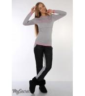Теплые брюки для беременных Shia, черный+сер.меланж