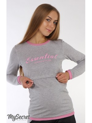 Лонгслив для беременных и кормящих  Bicoline, серый меланж с розовым