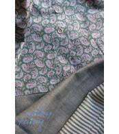 Платье-рубашка с коротким рукавом,  зеленые пейсли/серый
