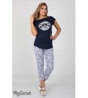 Летние брюки для беременных  Dioni, синие пейсли на белом