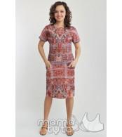 Летнее платье  для кормящих,  орнамент терракот