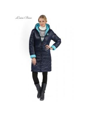 Куртка 2в1 зимняя Laura Bruno двухсторонняя сине-голубая для беременных