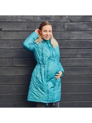 Зимнее пальто 2 в 1 (Вставка для беременных+пальто) -  Бирюза