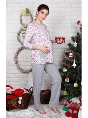 Пижама для беременных и кормящих Sugar light, котики на молоке+серый меланж