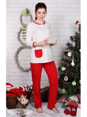 Пижама для беременных и кормящих Sugar light,  красные сердечки на молоке+красный