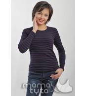 Лонгслив  для беременных  и   кормящих  Рита,  полоска черная/фиолет