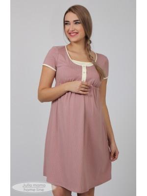 Ночная рубашка   Nikole, пудра с молоч.горошком + экрю