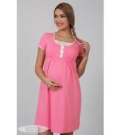 Ночная рубашка   Nikole,  розовый + принт роз.цветочки на молоке