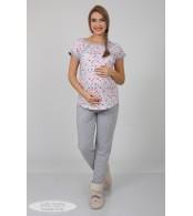 Пижама для беременных и кормящих  Relax, котики на молоке + серый меланж