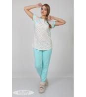 Пижама для беременных и кормящих  Relax,  разноцвет.горошки + ментол