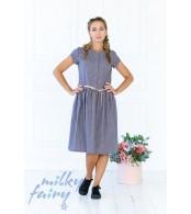 Платье с пышной юбкой, клеточка серо-синяя
