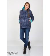 Демисезонная двухсторонняя куртка для беременных  Floyd, меланжевый принт + аквамарин