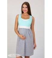 Ночная рубашка    Sela, ментоловый + молочный + серый меланж