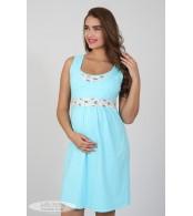 Ночная рубашка    Sela, голубой + принт коричнево-голубые цветы на молоке
