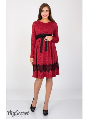 Платье Medina для беременных и кормящих,красный меланж