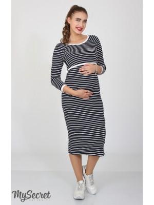 Платье Lolly для беременных и кормящих, темно-синий с молоком