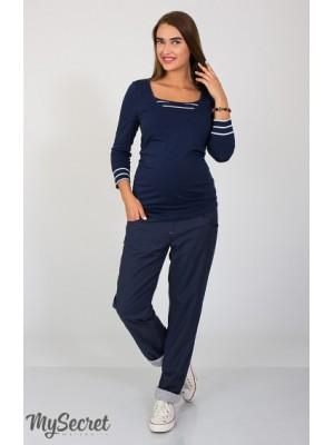 Брюки для беременных  Keira, синий с подкладкой серый меланж