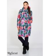 Куртка зимняя Kristin print, коралловый с принтом крупные цветы на синем