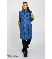 Куртка зимняя Kristin print,салатовый с принтом синий джинс