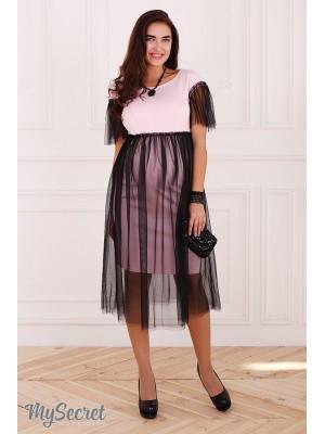 Платье  для беременных и кормящих  Dorotie, нежно-розовый с черным фатином