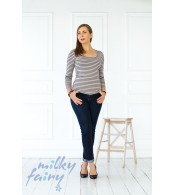 Пуловер с длинным рукавом, полоска/синий