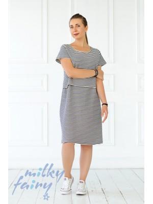 Платье трикотажное, сине-белая полоска