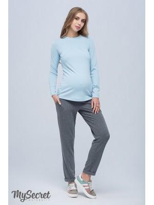 Трикотажные брюки  для беременных  Brioni, серый в молочную полоску