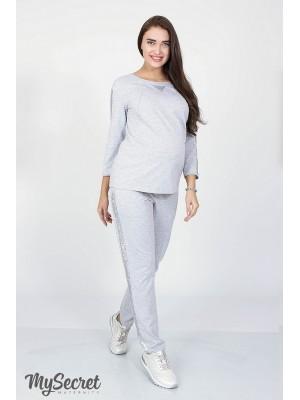 c4d12c0fd477 Трикотажные брюки для беременных Rihanna, серый меланж - Магазин 9+