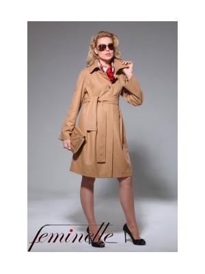 Утепленное пальто  для беременных светло-коричневое