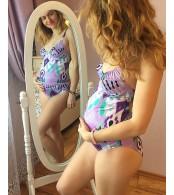 Купальник для беременных  слитный,  фиолетово-серый