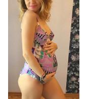 Купальник для беременных  слитный,  розово-серый