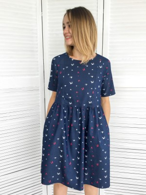 Джинсовое платье для беременных и кормящих, птички